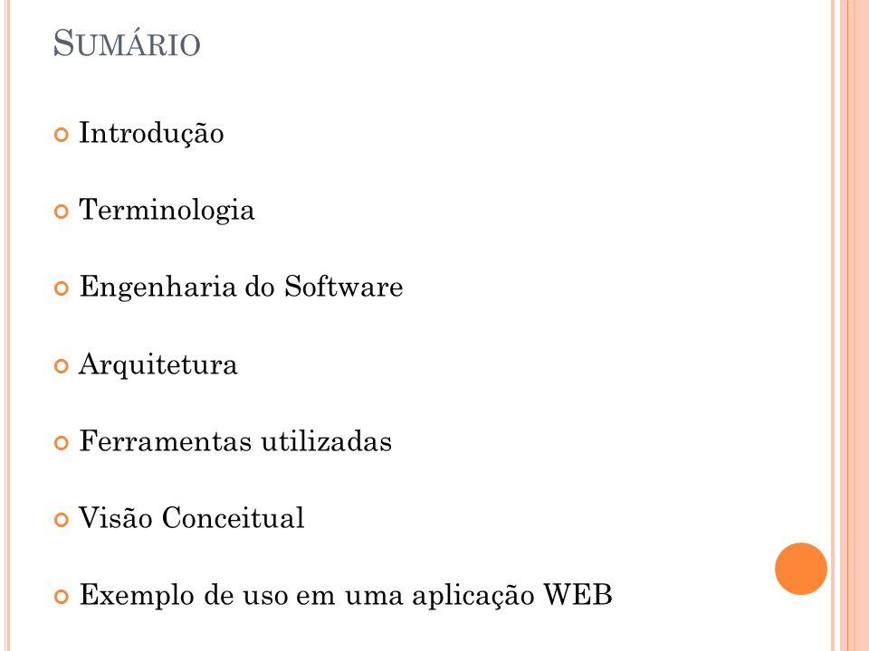 S UMÁRIO Introdução Terminologia Engenharia do Software Arquitetura Ferramentas utilizadas Visão Conceitual Exemplo de uso em uma aplicação WEB