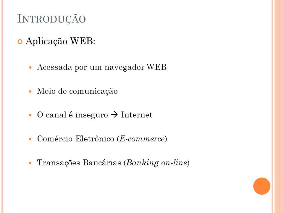 I NTRODUÇÃO Aplicação WEB: Acessada por um navegador WEB Meio de comunicação O canal é inseguro Internet Comércio Eletrônico ( E-commerce ) Transações Bancárias ( Banking on-line )