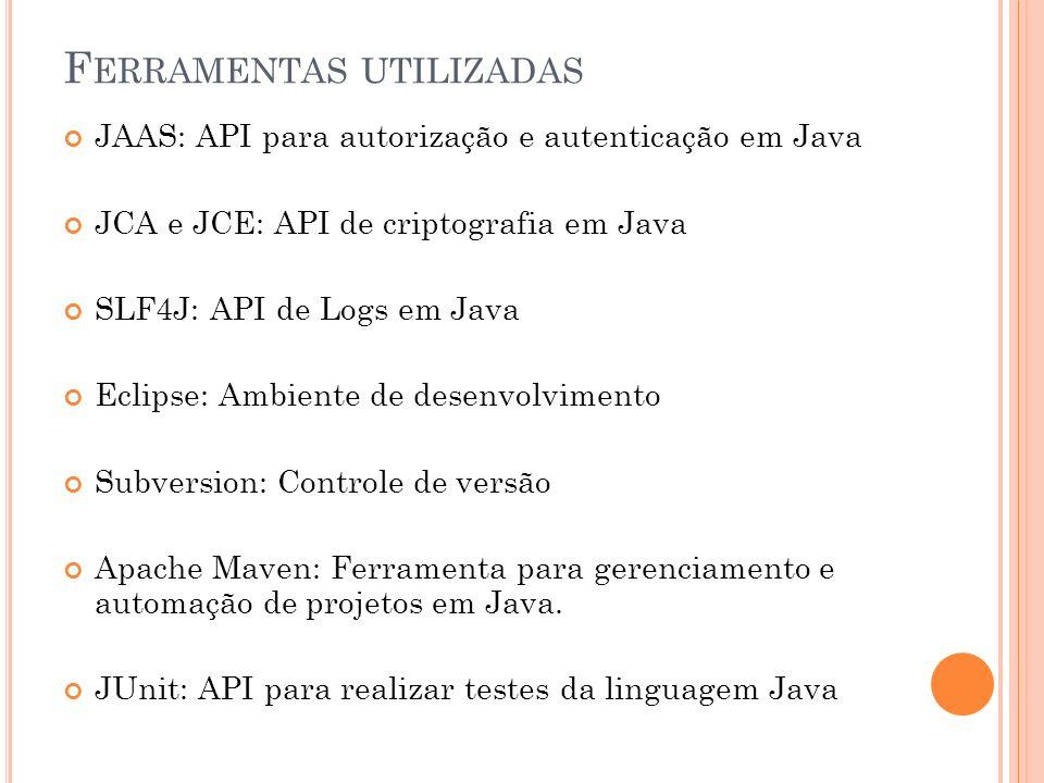 F ERRAMENTAS UTILIZADAS JAAS: API para autorização e autenticação em Java JCA e JCE: API de criptografia em Java SLF4J: API de Logs em Java Eclipse: Ambiente de desenvolvimento Subversion: Controle de versão Apache Maven: Ferramenta para gerenciamento e automação de projetos em Java.