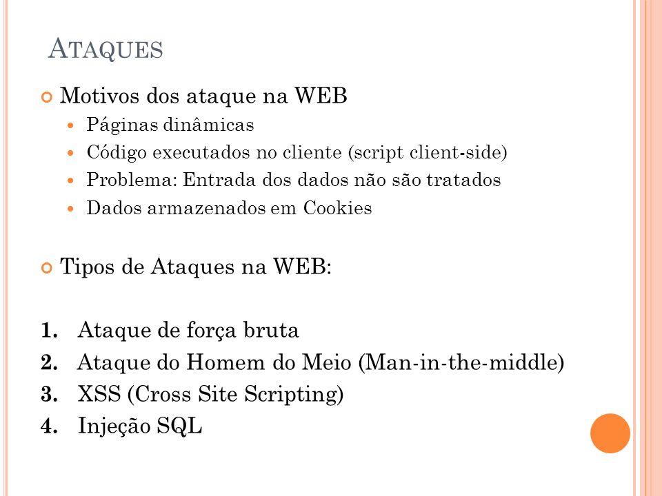 A TAQUES Motivos dos ataque na WEB Páginas dinâmicas Código executados no cliente (script client-side) Problema: Entrada dos dados não são tratados Dados armazenados em Cookies Tipos de Ataques na WEB: 1.