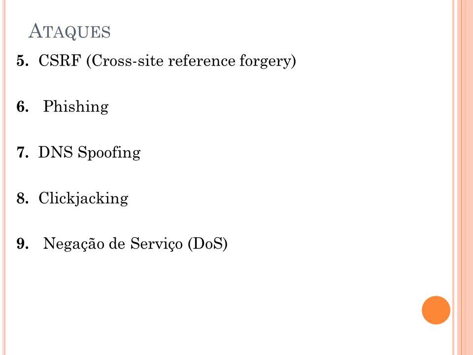 A TAQUES 5. CSRF (Cross-site reference forgery) 6. Phishing 7. DNS Spoofing 8. Clickjacking 9. Negação de Serviço (DoS)
