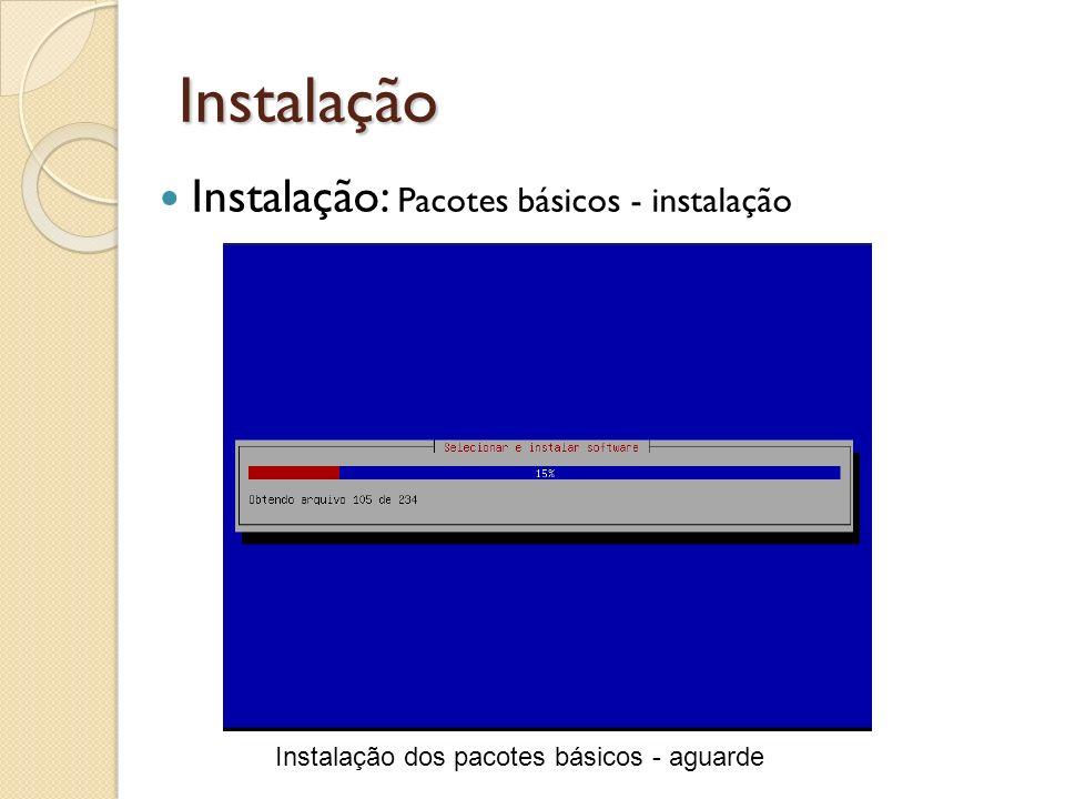 Instalação Instalação dos pacotes básicos - aguarde Instalação: Pacotes básicos - instalação