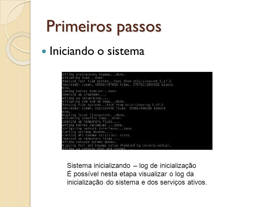 Primeiros passos Sistema inicializando – log de inicialização É possível nesta etapa visualizar o log da inicialização do sistema e dos serviços ativo