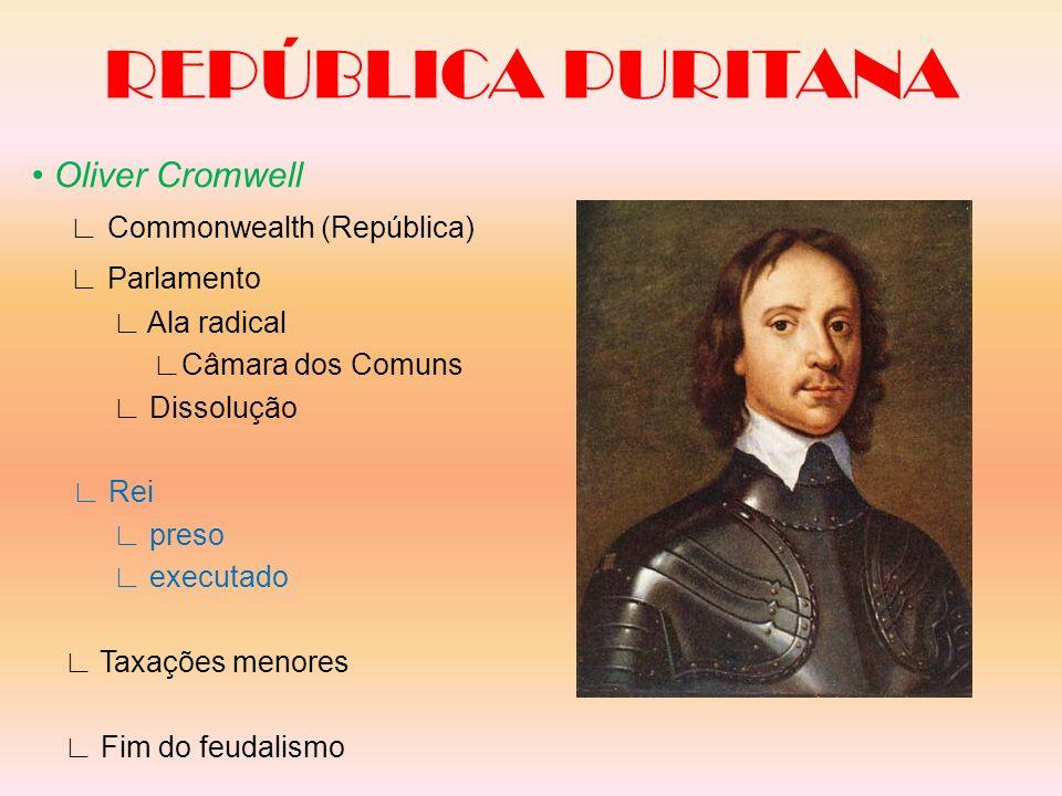 REPÚBLICA PURITANA Oliver Cromwell Commonwealth (República) Parlamento Ala radical Câmara dos Comuns Dissolução Rei preso executado Taxações menores F