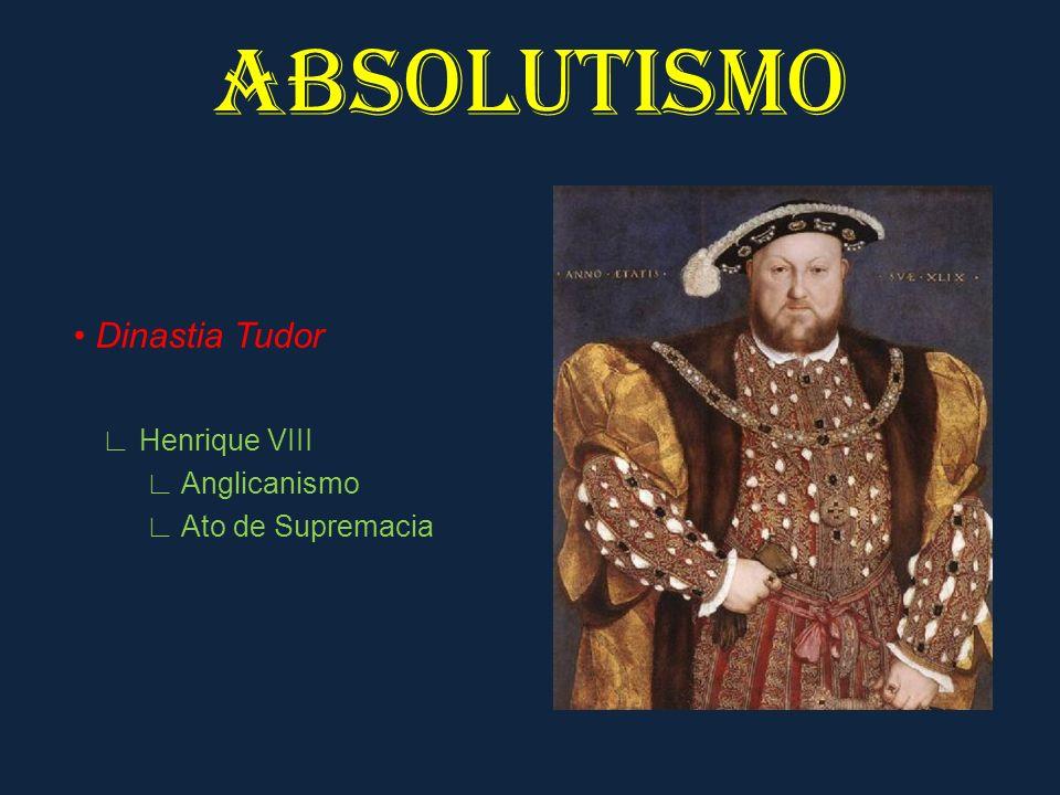 ABSOLUTISMO Dinastia Tudor Elisabeth I Auge Boas relações com o Parlamento Potência marítima manufaturas cercamentos mercantilismo burguesia forte prosperidade econômica
