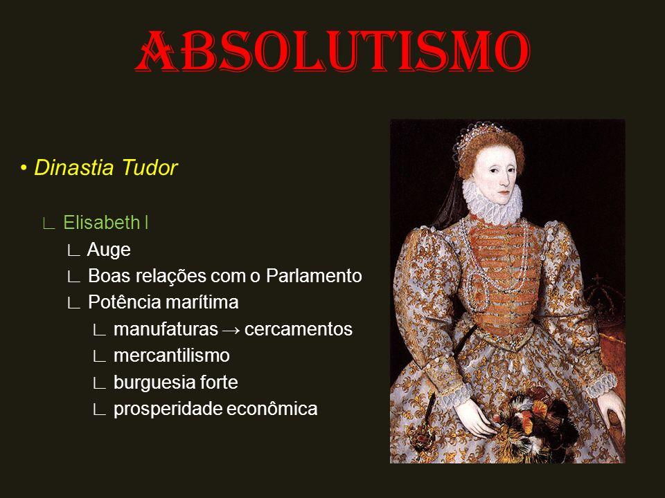 ABSOLUTISMO Dinastia Tudor Elisabeth I Auge Boas relações com o Parlamento Potência marítima manufaturas cercamentos mercantilismo burguesia forte pro