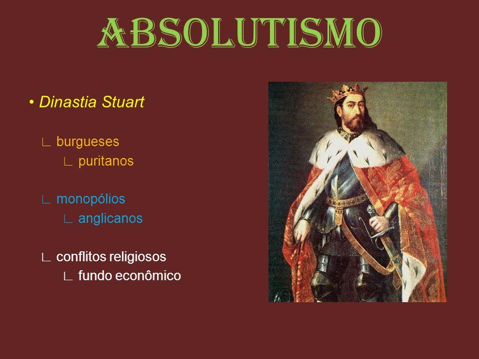 ABSOLUTISMO Dinastia Stuart burgueses puritanos monopólios anglicanos conflitos religiosos fundo econômico
