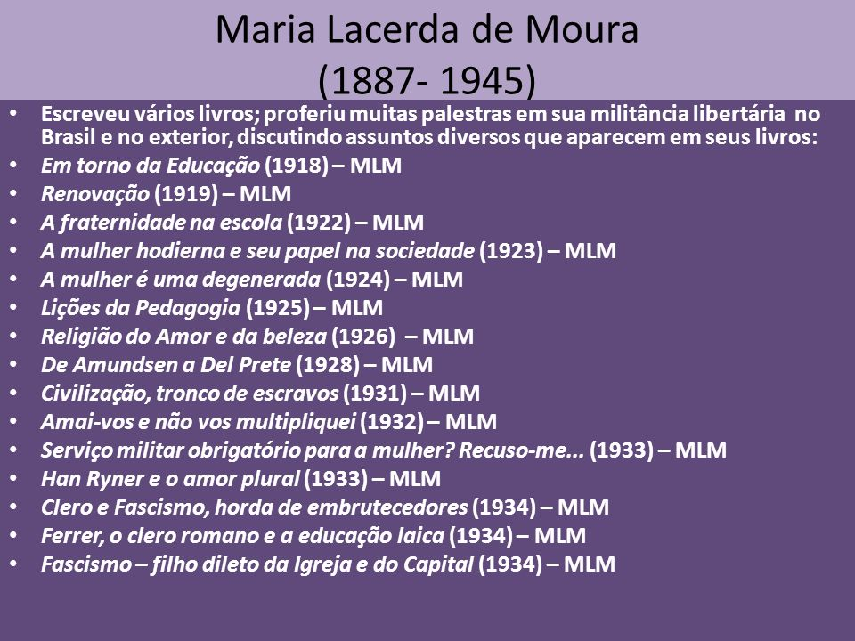Maria Lacerda de Moura (1887- 1945) Escreveu vários livros; proferiu muitas palestras em sua militância libertária no Brasil e no exterior, discutindo assuntos diversos que aparecem em seus livros: Em torno da Educação (1918) – MLM Renovação (1919) – MLM A fraternidade na escola (1922) – MLM A mulher hodierna e seu papel na sociedade (1923) – MLM A mulher é uma degenerada (1924) – MLM Lições da Pedagogia (1925) – MLM Religião do Amor e da beleza (1926) – MLM De Amundsen a Del Prete (1928) – MLM Civilização, tronco de escravos (1931) – MLM Amai-vos e não vos multipliquei (1932) – MLM Serviço militar obrigatório para a mulher.