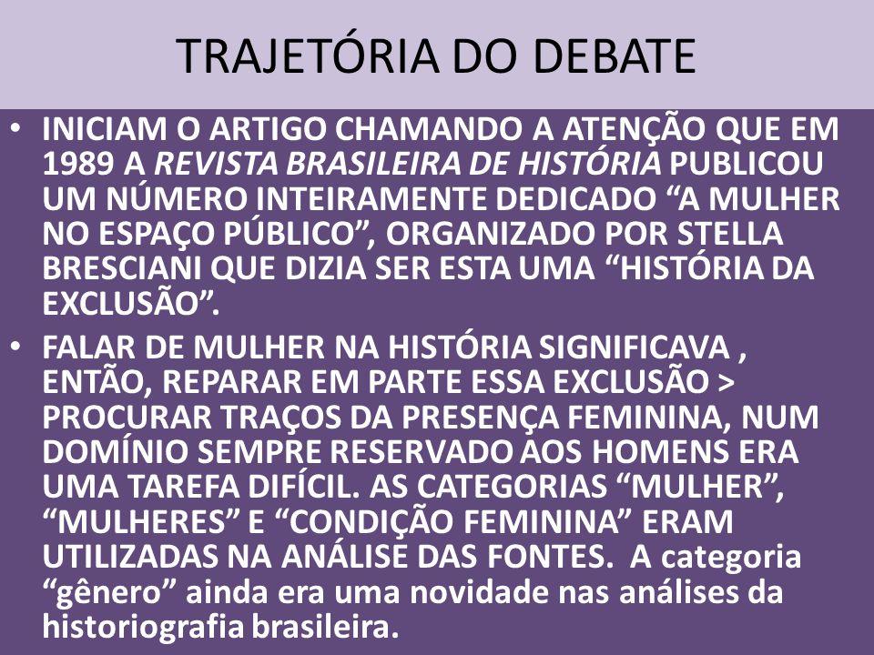 TRAJETÓRIA DO DEBATE INICIAM O ARTIGO CHAMANDO A ATENÇÃO QUE EM 1989 A REVISTA BRASILEIRA DE HISTÓRIA PUBLICOU UM NÚMERO INTEIRAMENTE DEDICADO A MULHE