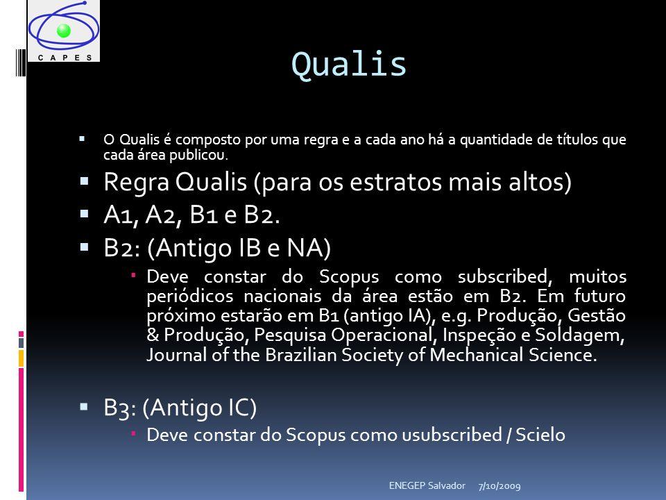 7/10/2009ENEGEP Salvador O Qualis é composto por uma regra e a cada ano há a quantidade de títulos que cada área publicou. Regra Qualis (para os estra