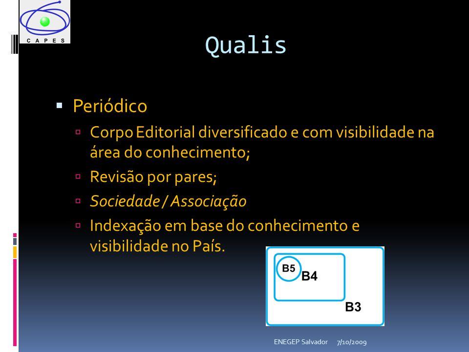 7/10/2009ENEGEP Salvador Periódico Corpo Editorial diversificado e com visibilidade na área do conhecimento; Revisão por pares; Sociedade / Associação