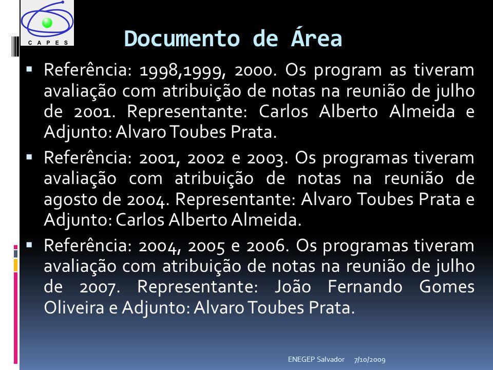 Documento de Área Referência: 1998,1999, 2000. Os program as tiveram avaliação com atribuição de notas na reunião de julho de 2001. Representante: Car