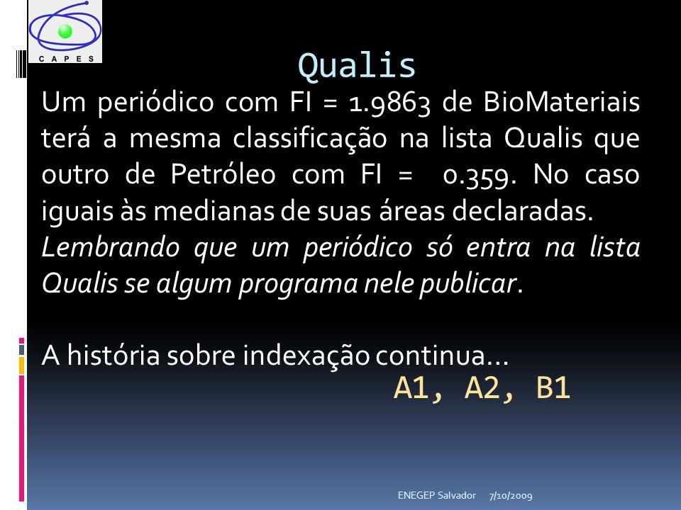 7/10/2009ENEGEP Salvador Qualis Um periódico com FI = 1.9863 de BioMateriais terá a mesma classificação na lista Qualis que outro de Petróleo com FI = 0.359.