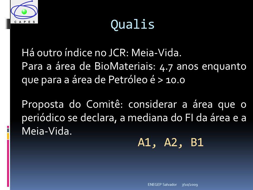 7/10/2009ENEGEP Salvador Qualis Há outro índice no JCR: Meia-Vida. Para a área de BioMateriais: 4.7 anos enquanto que para a área de Petróleo é > 10.0