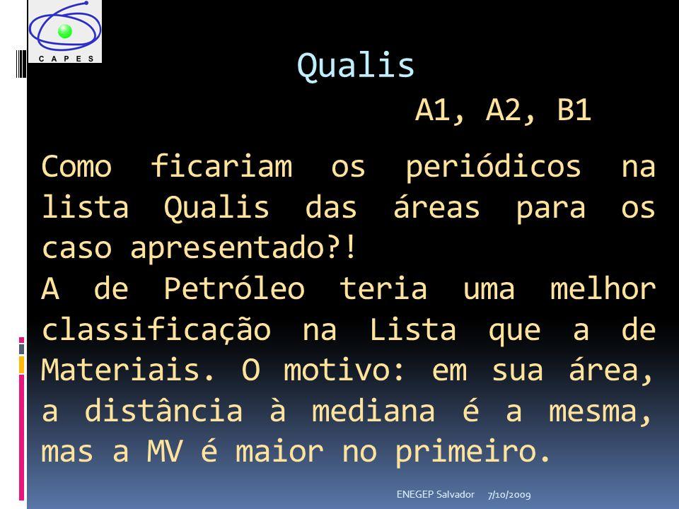7/10/2009ENEGEP Salvador Qualis A1, A2, B1 Como ficariam os periódicos na lista Qualis das áreas para os caso apresentado .