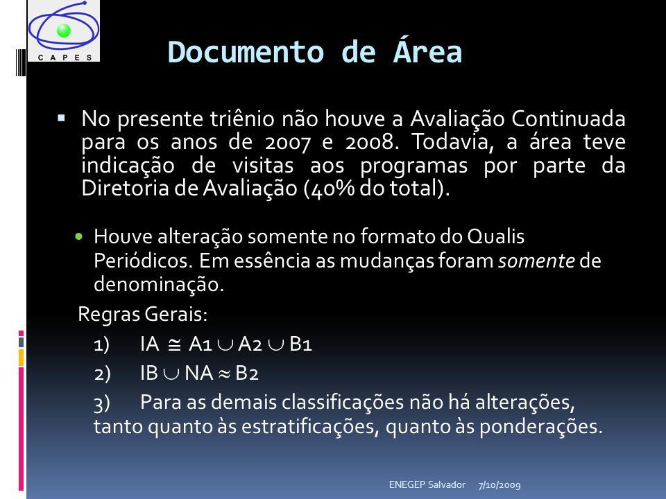 Documento de Área No presente triênio não houve a Avaliação Continuada para os anos de 2007 e 2008.