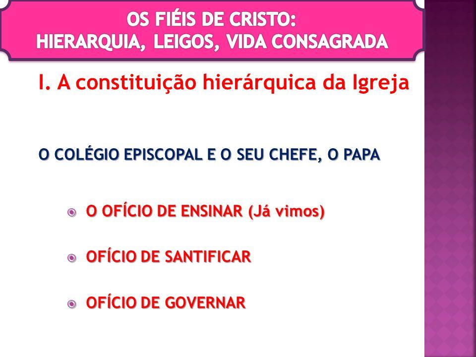 I. A constituição hierárquica da Igreja O COLÉGIO EPISCOPAL E O SEU CHEFE, O PAPA O OFÍCIO DE ENSINAR (Já vimos) O OFÍCIO DE ENSINAR (Já vimos) OFÍCIO