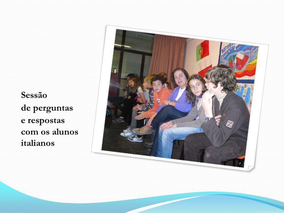 Sessão de perguntas e respostas com os alunos italianos