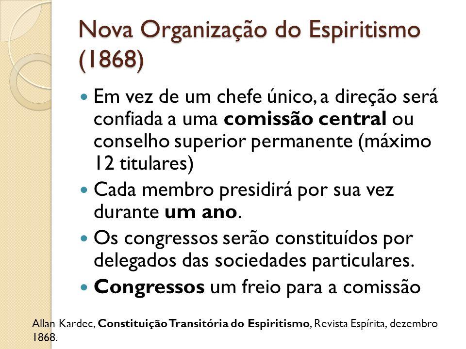 Nova Organização do Espiritismo (1868) Em vez de um chefe único, a direção será confiada a uma comissão central ou conselho superior permanente (máxim