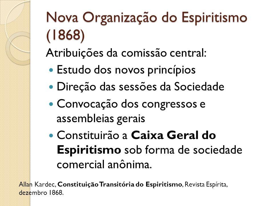 Nova Organização do Espiritismo (1868) Atribuições da comissão central: Estudo dos novos princípios Direção das sessões da Sociedade Convocação dos co