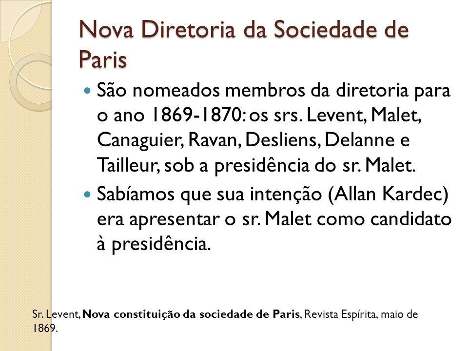 Nova Diretoria da Sociedade de Paris São nomeados membros da diretoria para o ano 1869-1870: os srs. Levent, Malet, Canaguier, Ravan, Desliens, Delann