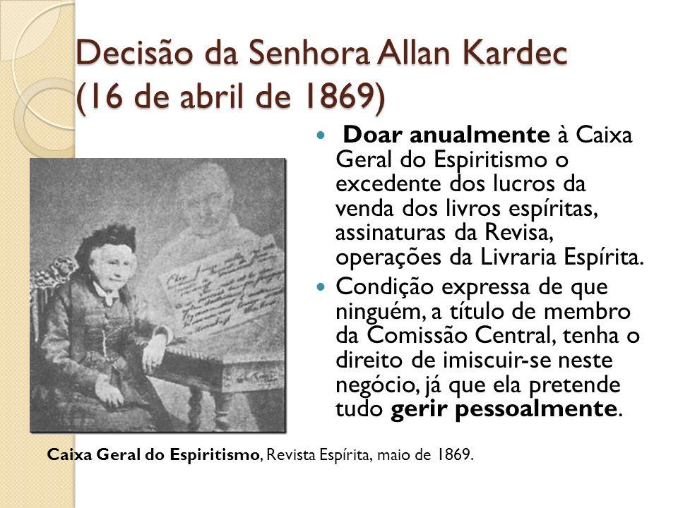 Decisão da Senhora Allan Kardec (16 de abril de 1869) Doar anualmente à Caixa Geral do Espiritismo o excedente dos lucros da venda dos livros espírita