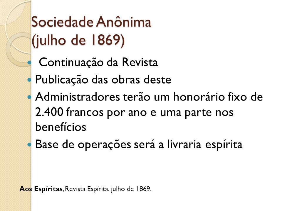 Sociedade Anônima (julho de 1869) Continuação da Revista Publicação das obras deste Administradores terão um honorário fixo de 2.400 francos por ano e