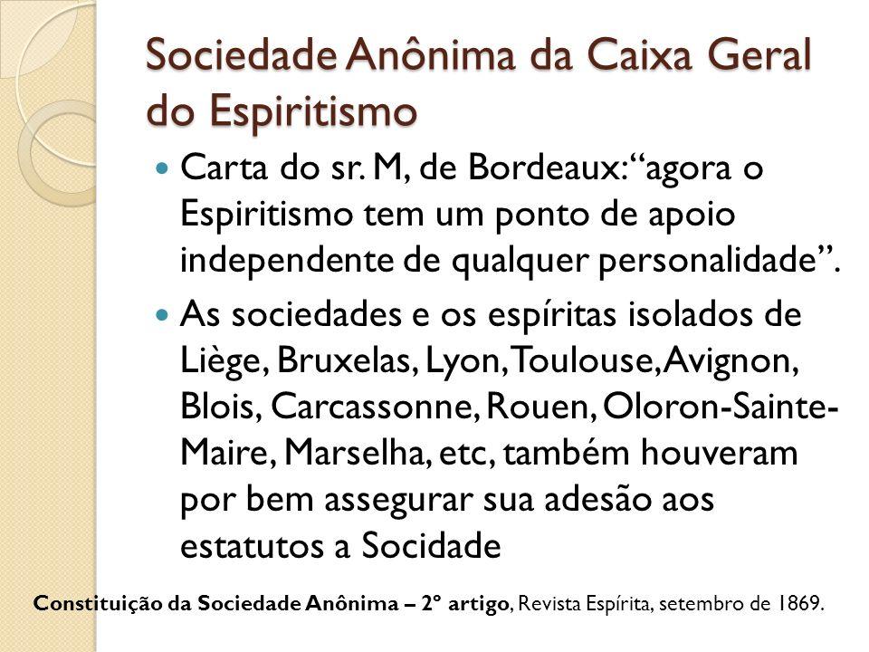 Sociedade Anônima da Caixa Geral do Espiritismo Carta do sr. M, de Bordeaux: agora o Espiritismo tem um ponto de apoio independente de qualquer person