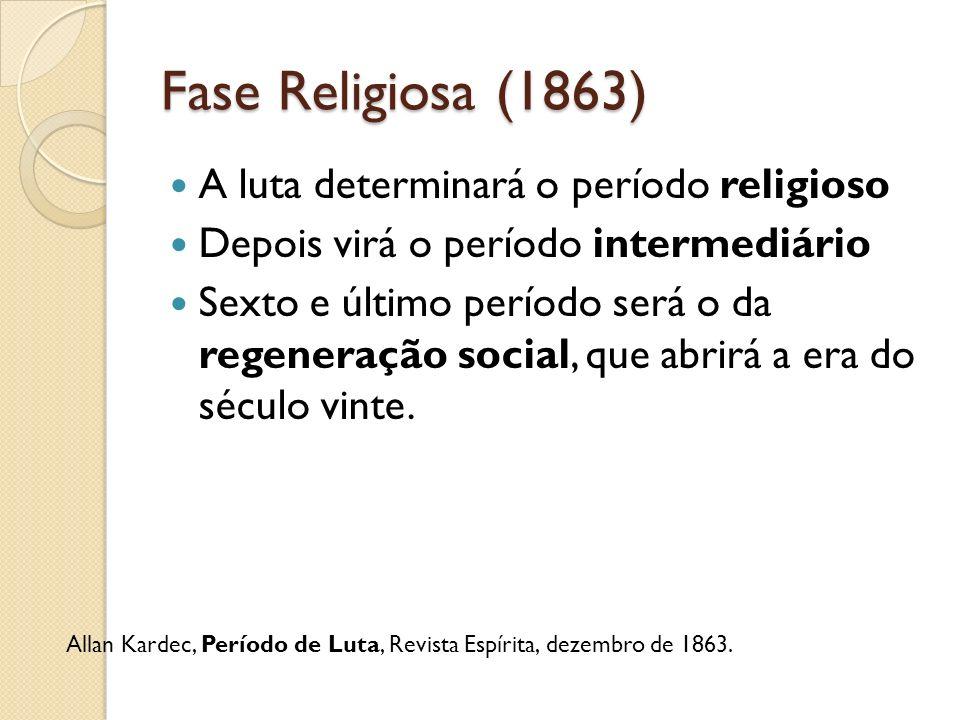 Fase Religiosa (1863) A luta determinará o período religioso Depois virá o período intermediário Sexto e último período será o da regeneração social,