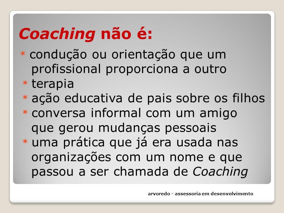 Coaching não é: * condução ou orientação que um profissional proporciona a outro * terapia * ação educativa de pais sobre os filhos * conversa informa