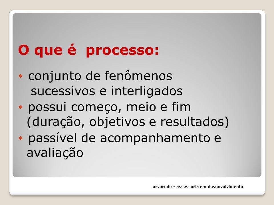 O que é processo: * conjunto de fenômenos sucessivos e interligados * possui começo, meio e fim (duração, objetivos e resultados) * passível de acompa