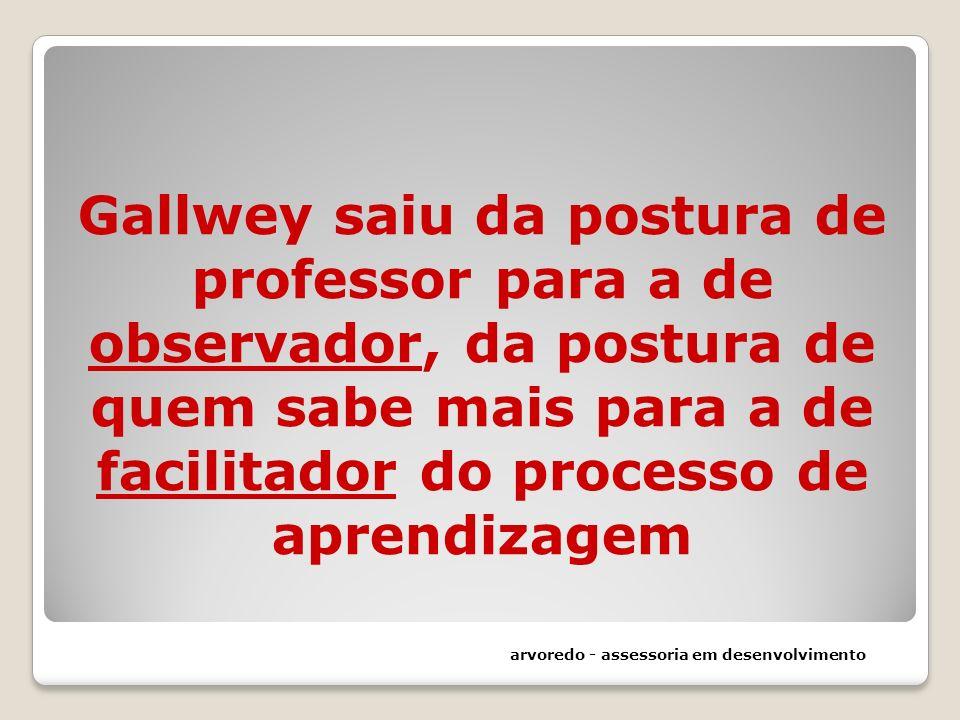 Gallwey saiu da postura de professor para a de observador, da postura de quem sabe mais para a de facilitador do processo de aprendizagem arvoredo - a
