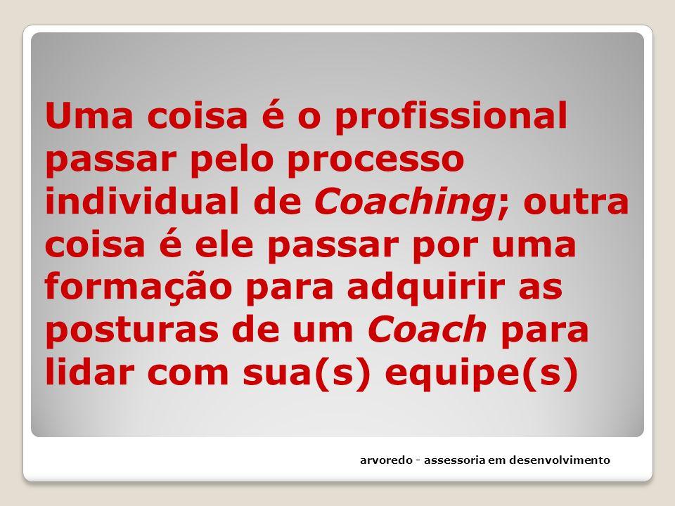 Uma coisa é o profissional passar pelo processo individual de Coaching; outra coisa é ele passar por uma formação para adquirir as posturas de um Coac