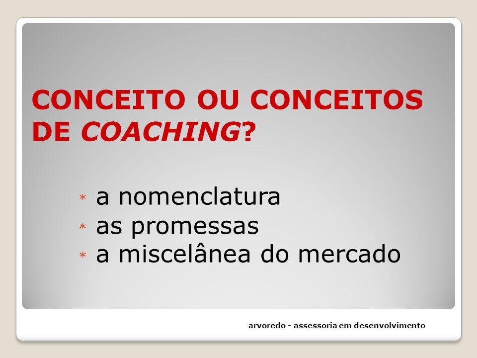 CONCEITO OU CONCEITOS DE COACHING? * a nomenclatura * as promessas * a miscelânea do mercado arvoredo - assessoria em desenvolvimento