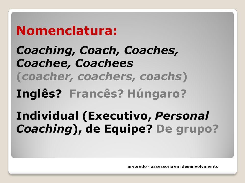 Nomenclatura: Coaching, Coach, Coaches, Coachee, Coachees (coacher, coachers, coachs) Inglês? Francês? Húngaro? Individual (Executivo, Personal Coachi