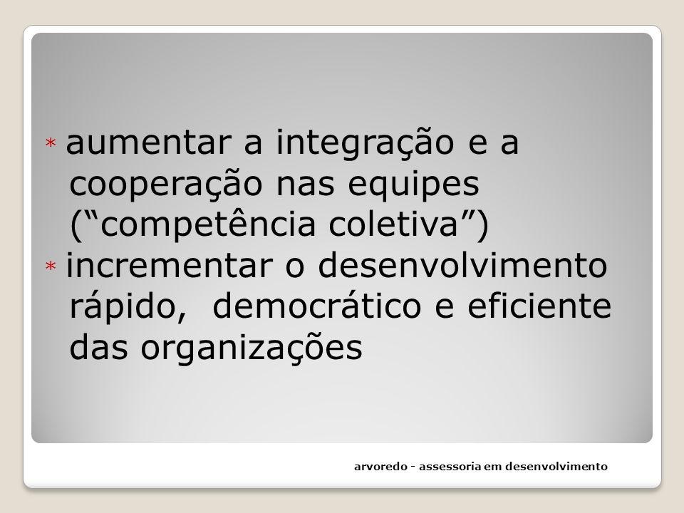 * aumentar a integração e a cooperação nas equipes (competência coletiva) * incrementar o desenvolvimento rápido, democrático e eficiente das organiza