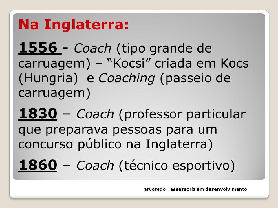 Na Inglaterra: 1556 - Coach (tipo grande de carruagem) – Kocsi criada em Kocs (Hungria) e Coaching (passeio de carruagem) 1830 – Coach (professor part