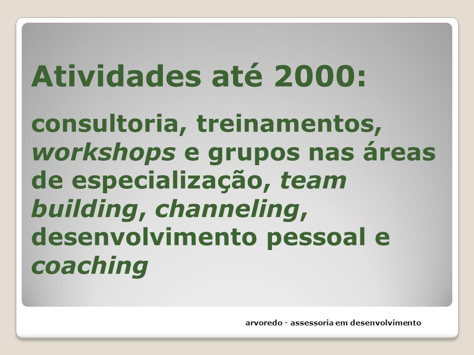 Atividades até 2000: consultoria, treinamentos, workshops e grupos nas áreas de especialização, team building, channeling, desenvolvimento pessoal e c