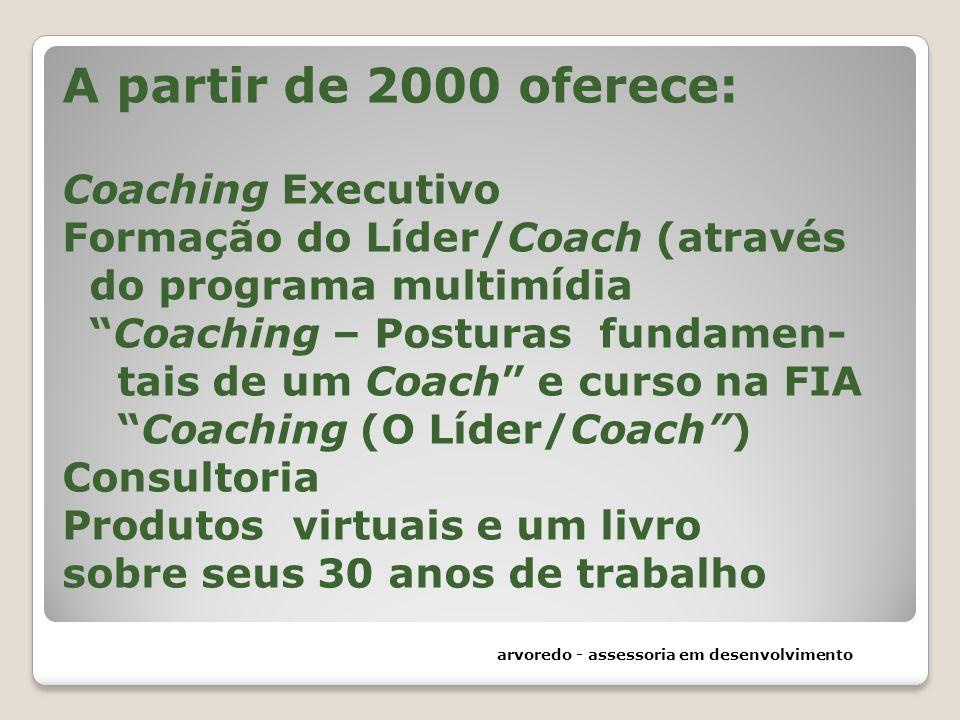 A partir de 2000 oferece: Coaching Executivo Formação do Líder/Coach (através do programa multimídia Coaching – Posturas fundamen- tais de um Coach e