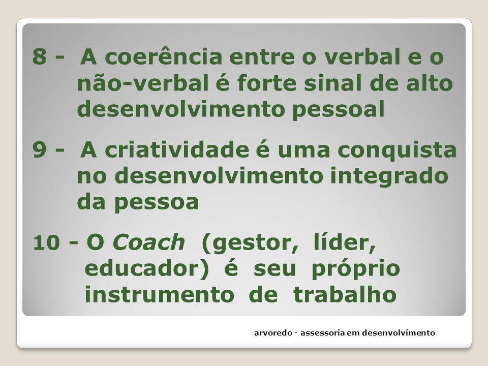 8 - A coerência entre o verbal e o não-verbal é forte sinal de alto desenvolvimento pessoal 9 - A criatividade é uma conquista no desenvolvimento inte