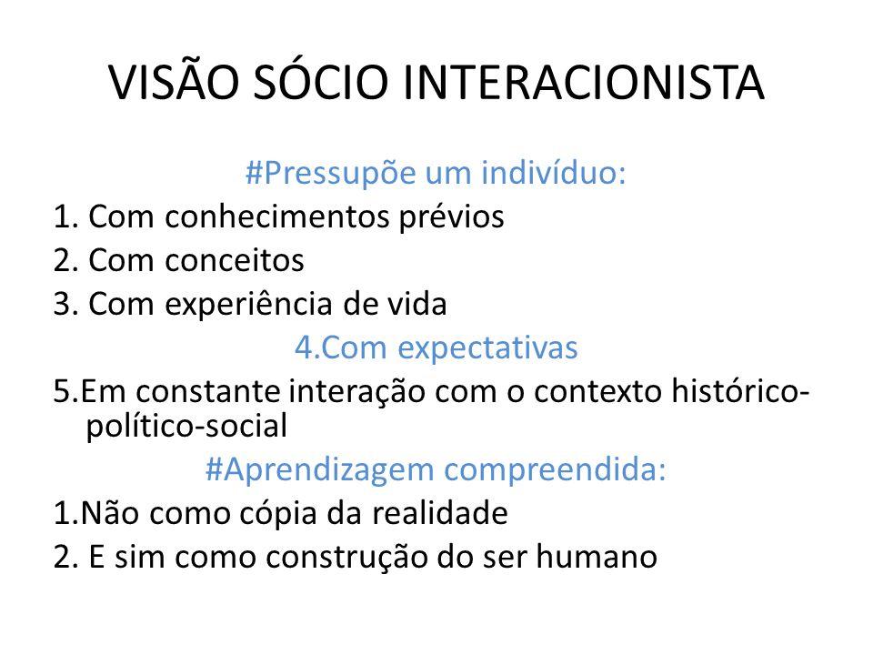 VISÃO SÓCIO INTERACIONISTA #Pressupõe um indivíduo: 1. Com conhecimentos prévios 2. Com conceitos 3. Com experiência de vida 4.Com expectativas 5.Em c