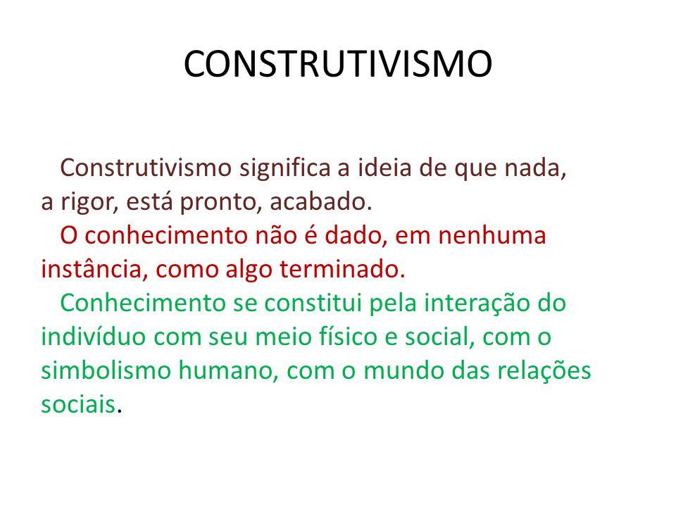 CONSTRUTIVISMO Construtivismo significa a ideia de que nada, a rigor, está pronto, acabado. O conhecimento não é dado, em nenhuma instância, como algo