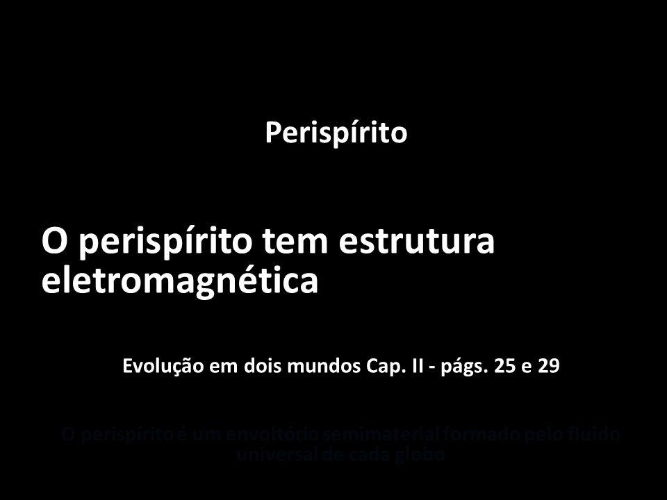 Perispírito O perispírito tem estrutura eletromagnética Evolução em dois mundos Cap. II - págs. 25 e 29 O perispírito é um envoltório semimaterial for