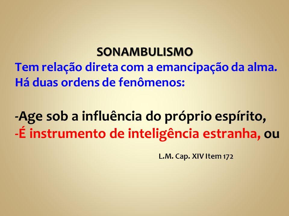 SONAMBULISMO SONAMBULISMO Tem relação direta com a emancipação da alma. Há duas ordens de fenômenos: -Age sob a influência do próprio espírito, -É ins