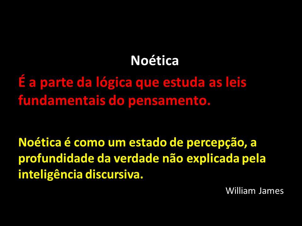 Noética É a parte da lógica que estuda as leis fundamentais do pensamento. Noética é como um estado de percepção, a profundidade da verdade não explic