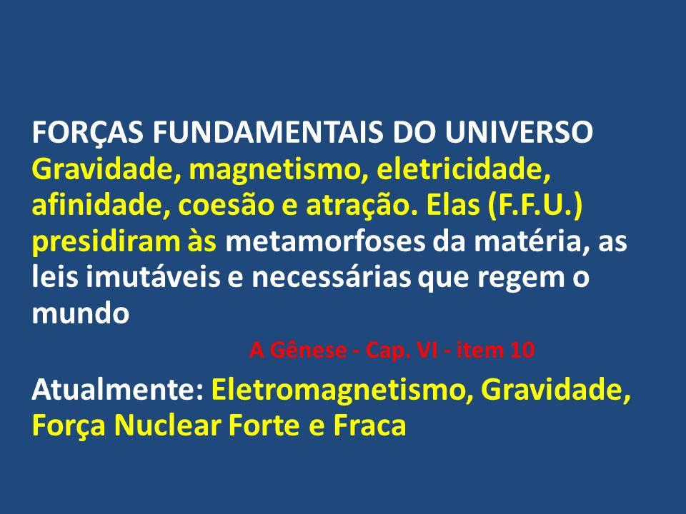 FORÇAS FUNDAMENTAIS DO UNIVERSO Gravidade, magnetismo, eletricidade, afinidade, coesão e atração. Elas (F.F.U.) presidiram às metamorfoses da matéria,