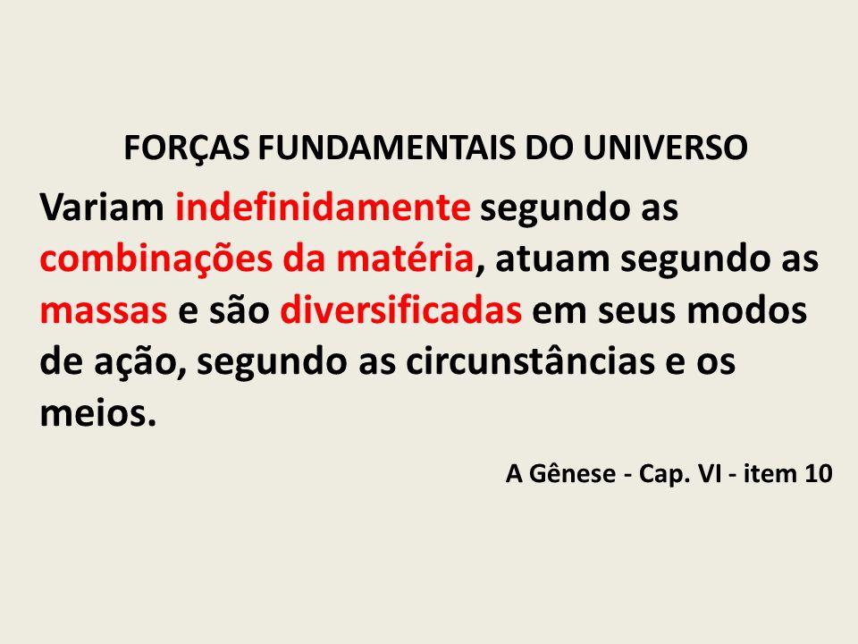 FORÇAS FUNDAMENTAIS DO UNIVERSO Variam indefinidamente segundo as combinações da matéria, atuam segundo as massas e são diversificadas em seus modos d