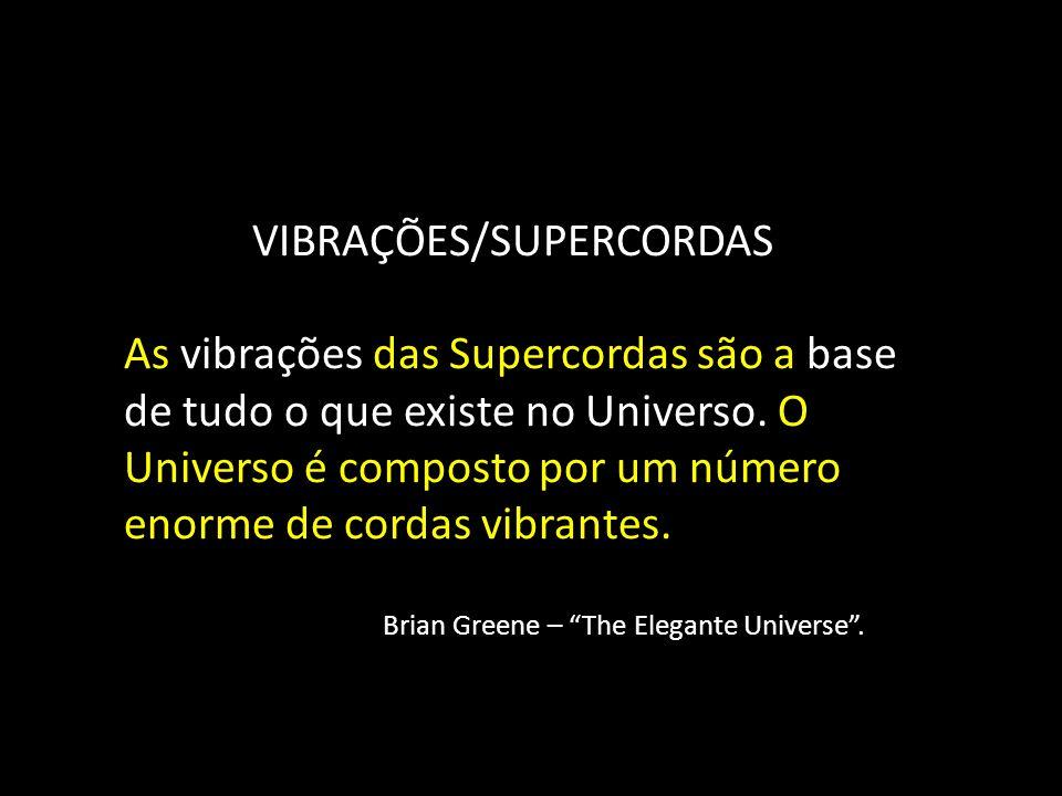 VIBRAÇÕES/SUPERCORDAS As vibrações das Supercordas são a base de tudo o que existe no Universo. O Universo é composto por um número enorme de cordas v