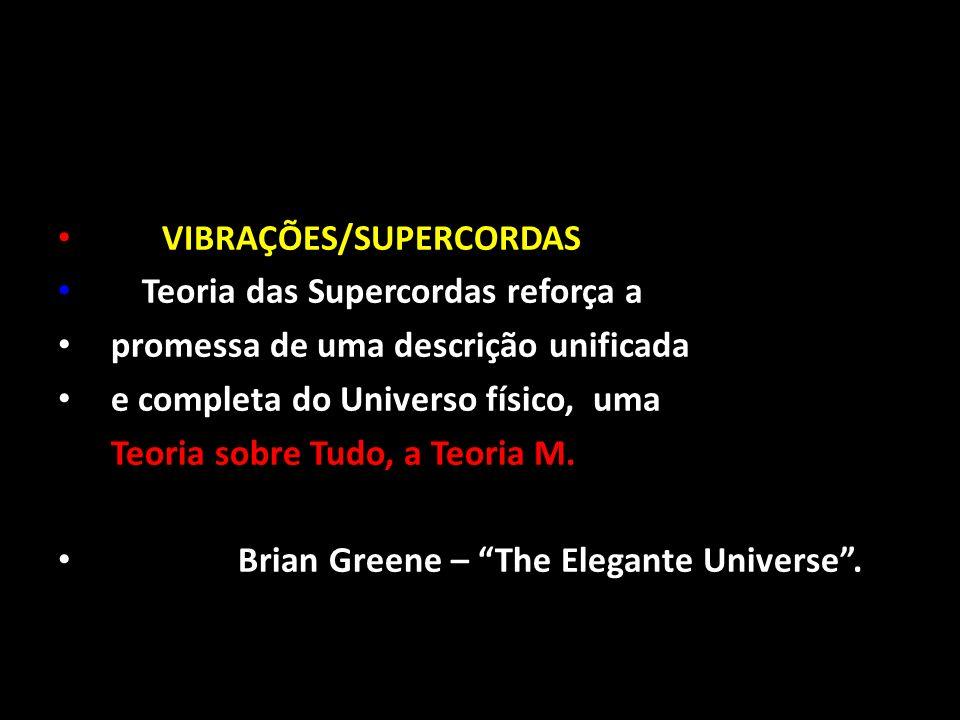 VIBRAÇÕES/SUPERCORDAS A Teoria das Supercordas reforça a promessa de uma descrição unificada e completa do Universo físico, uma Teoria sobre Tudo, a T