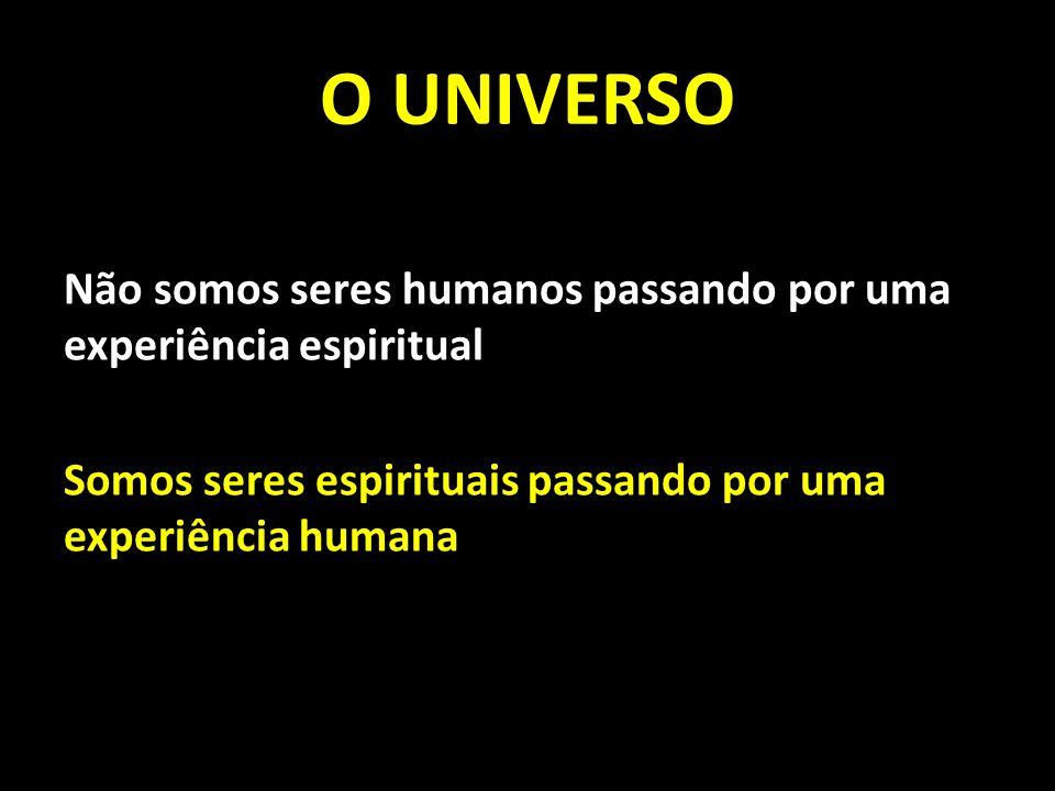 O UNIVERSO Não somos seres humanos passando por uma experiência espiritual Somos seres espirituais passando por uma experiência humana